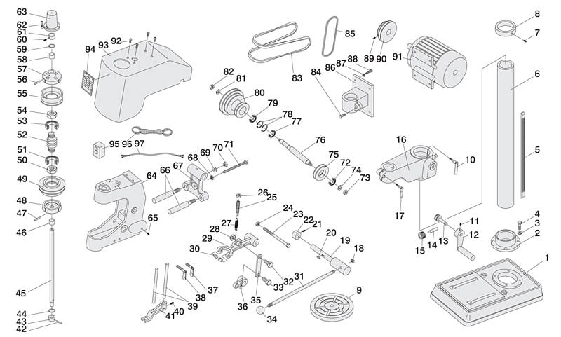 Tapping Machine Parts Drawing