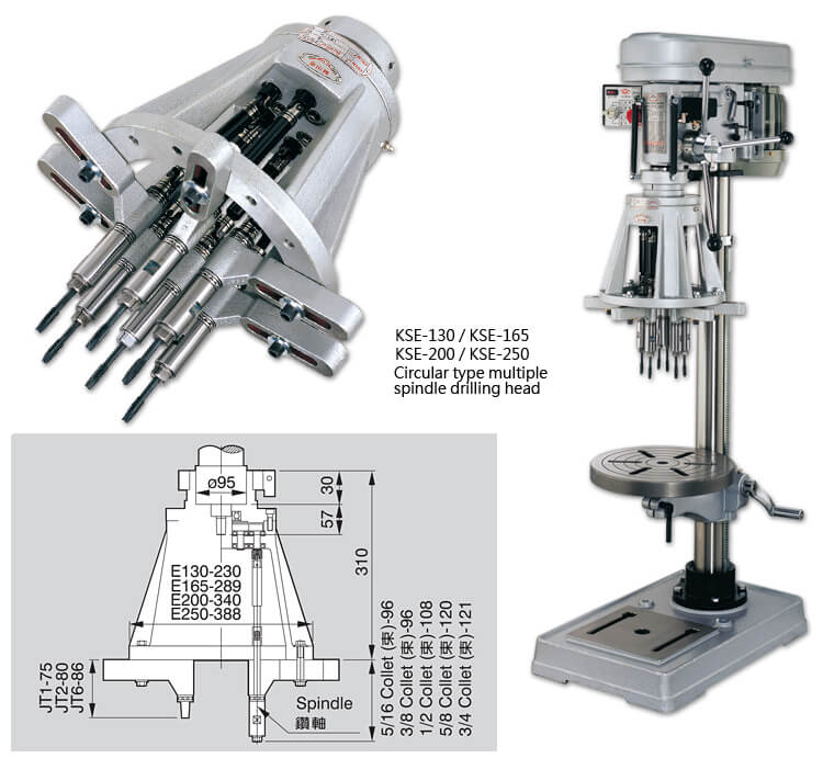 KSE-130 / KSE-165 / KSE-200 / KSE-250 Circular type multiple spindle machine head.
